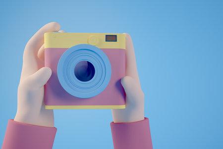 Minimal 3d rendering  photo selfie concept