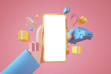 Delivery app concept 3d rendering Stockfoto