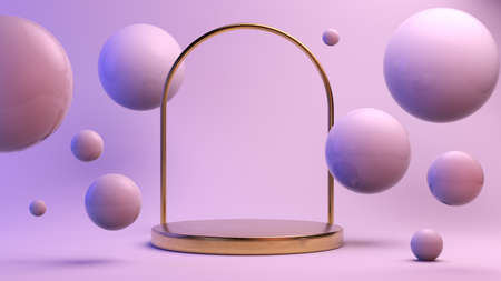 Golden platform with arch surrounded by spheres 3d rendering