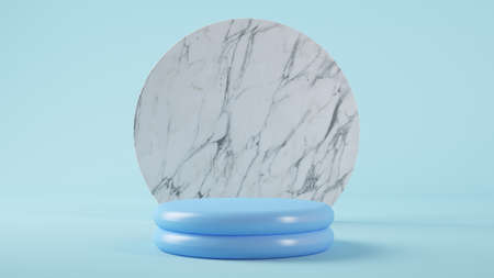 blue plastic platform 3d rendering