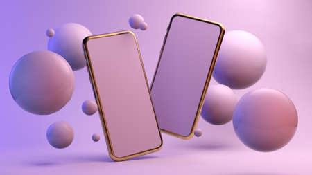 Two smartphones floating surrounded by spheres 3d rendering mock up