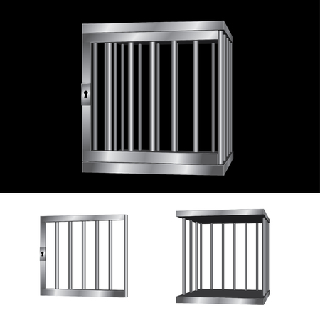 prison house: Editable gate silver cage
