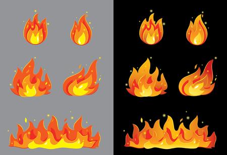 fogatas: Fuego en gris y negro Vectores