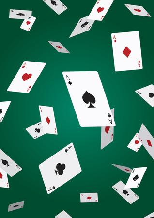 落ちるエース ポーカー カード  イラスト・ベクター素材