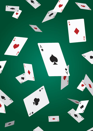 deck of cards: Ace poker card falling
