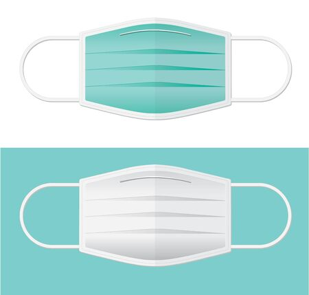 two colors surgical mask in flat vector