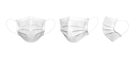 3 perspective angles white medical mask in isolated