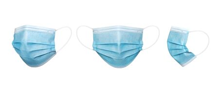 3 perspective angles Blue msurgical mask in isolated