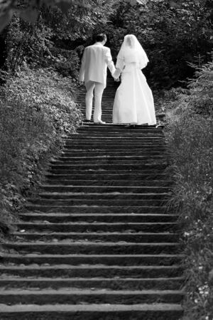 Wedding couple going up stairs Stock Photo - 702955
