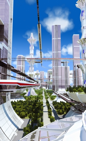 future city: city ??of skyscrapers surrounded by trees against the blue sky