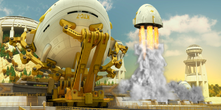 spaceport: Lift-off Stock Photo