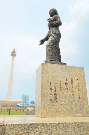 merdeka: The statue of R. A. Kartini in Merdeka Square, which donated by Japanese for Indonesia (editorial) Editorial