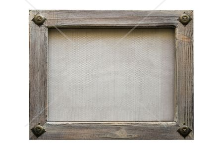 Grey wood frame with wire net