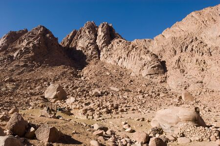 Rocks and sky at the Mount Sinai Stock Photo