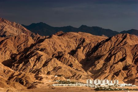 foothill: City at foothill view from Eilat-Red Sea, Israel Stock Photo