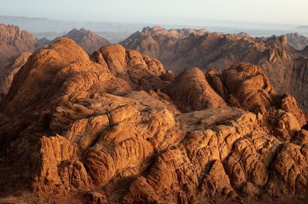 sinai: Panorama rocks of Mount Sinai in early morning Stock Photo