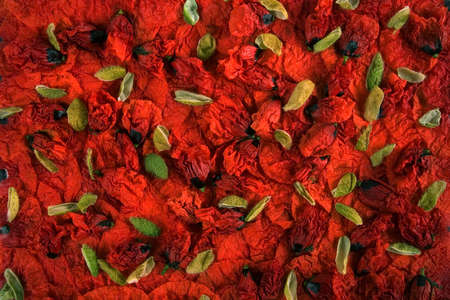 settle: Red poppy petals and buds settle on a plate