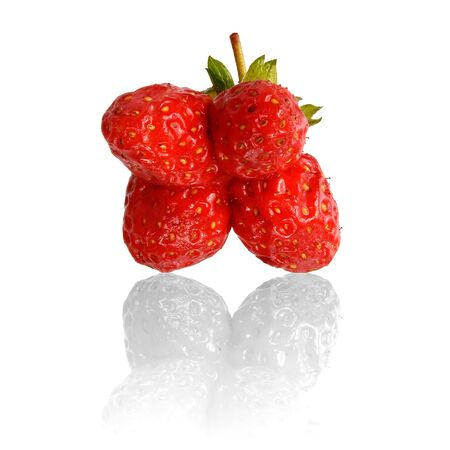 Twin strawberry with shadow on white background