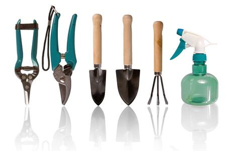 gardening tools: Five gardening tools and one spaying bottle