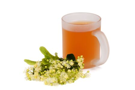 Cup of linden tea and linden blossom photo