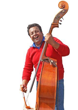 gospel music: Man playing gospel music at  contrabass instrument Stock Photo
