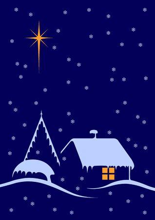 Christmas night scene with big star and snow Stock Photo - 3907497