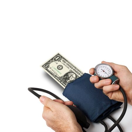 Doctor taking pressure of one dollar. Concept for dollar crisis. photo