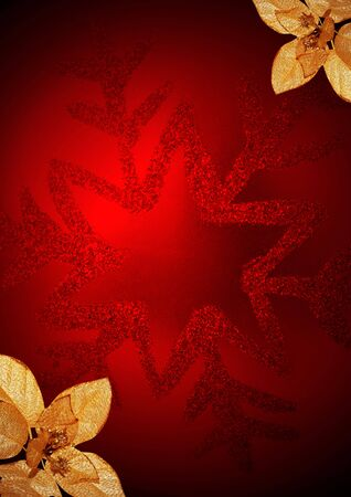 Red Christmas globe and corner gold flowers Stock Photo - 3916501