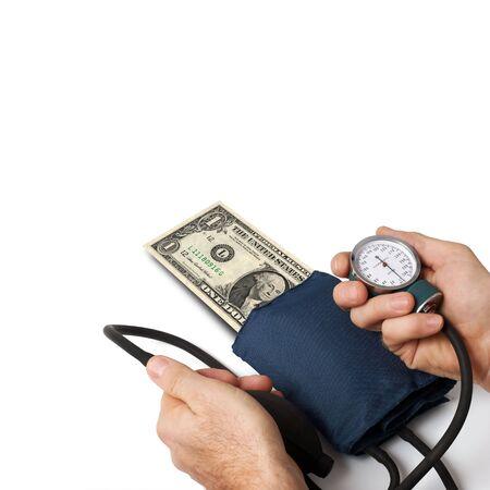 Dottore di pressione di un dollaro. Concetto per la crisi del dollaro. Archivio Fotografico - 3925177
