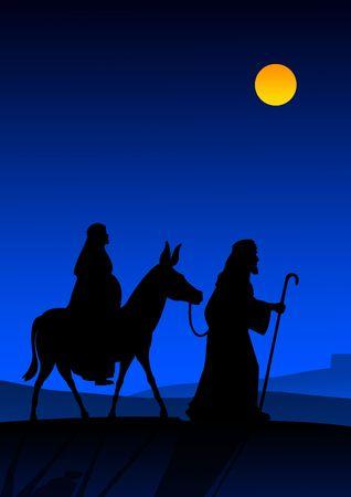 José y María con el burro en el camino a Belén Foto de archivo - 3936436