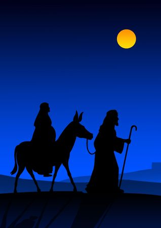 Joseph and Mary with donkey on the way to Bethlehem