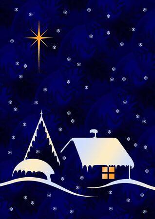 Christmas night scene with big star and snow Stock Photo - 3952862