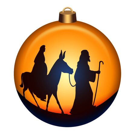 Globe with Joseph and Mary with donkey on the way to Bethlehem  Stock Photo