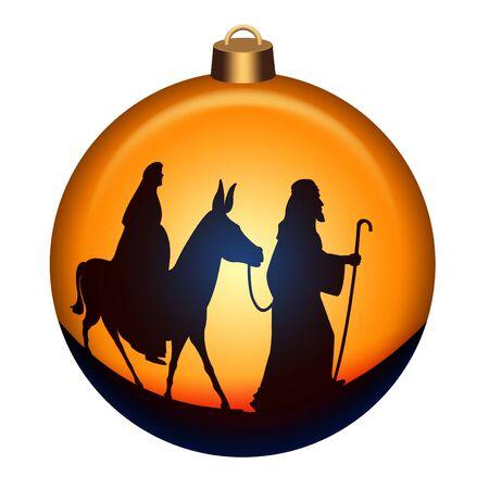Globe with Joseph and Mary with donkey on the way to Bethlehem  photo