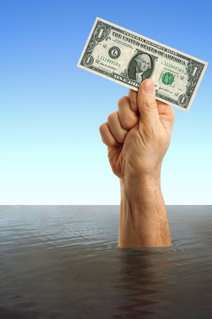 Man hand holding dollar bill to save it  Stock Photo