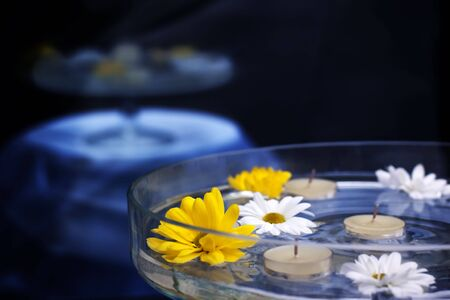 Daisy flowers and candles in a glass bowl photo