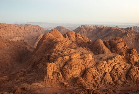 Panorama rocks of holy ground Mount Sinai in early morning Archivio Fotografico