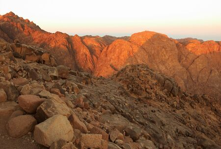 Holy ground Mount Sinai in early morning photo