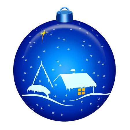 Globe with Christmas night scene with big star and snow Stock Photo - 4753013
