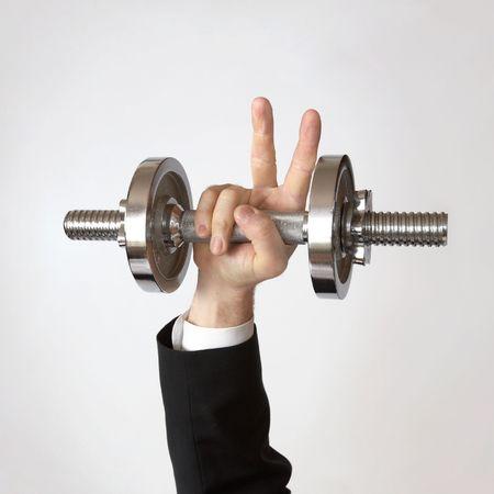Business man solleva il peso per la vittoria - il successo Business Archivio Fotografico - 4890441