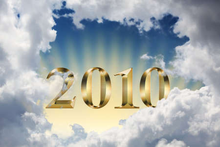 New Year 2010 rising through the clouds. Concept of hope to get out of world crisis. Stock Photo - 5516907