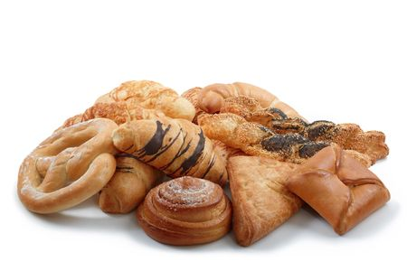 bakery products: Group of sweet and salted bakery products Stock Photo