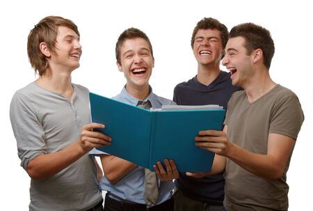 Four young people working and having fun time together