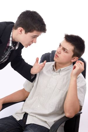 persuade: Young businessman explaining something to his boss