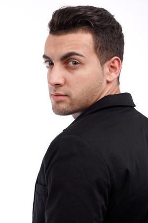 Handsome man close up portrait on white background photo