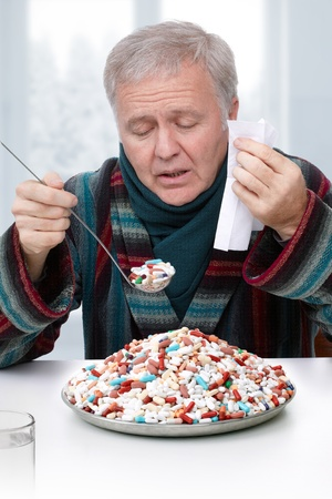 exaggerated: Senior doing exaggerated treatment with drugs Stock Photo