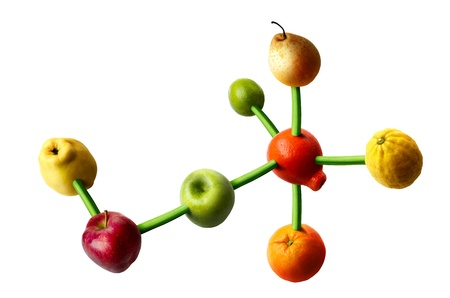 Connected fruits in the shape of molecular structure. Concept for vitamins diet.