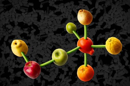 Connected fruits in the shape of molecular structure. Concept for vitamins diet. photo