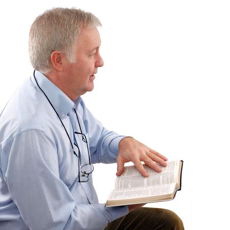 Senior pastor uit te leggen het Woord van God Stockfoto