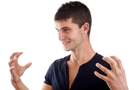 Young handsome man showing something with hands Stock Photo - 16140943